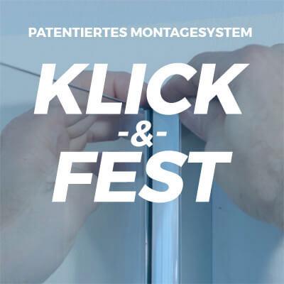 "Patentiertes Montagesystem ""Klick & Fest"""