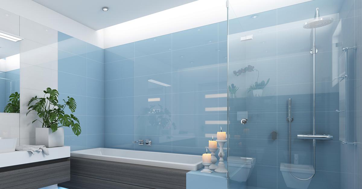 Badezimmer mit Duschkabine aus Glas - DUSBAD
